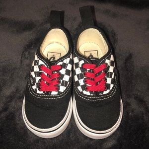 Toddler Vans Checkered Lo-Tops with Red Laces